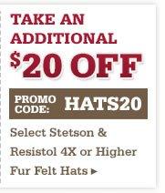 20 Off Hats Instant Rebate