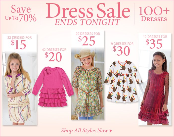 Save up to 70% on Select Girl's Dresses, Ends Tonight