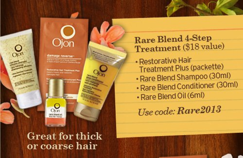 Great  for thick or coarse hair Rare Blend 4 Step Treatment 18 dollars value  Restorative Hair Treatment Plus packette rare Blend Shampoo 30ml Rare  Blend Conditioner 30ml Rare Blend Oil 6ml Use code Rare2013