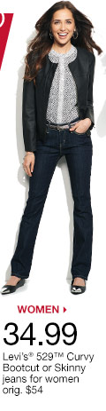 $34.99 Levi's 529 Curvy Bootcut or Skinny jeans for women orig. $54