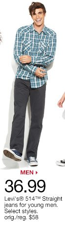 $36.99 Levi's 514 Straight jeans for young men. Select styles. orig. $58