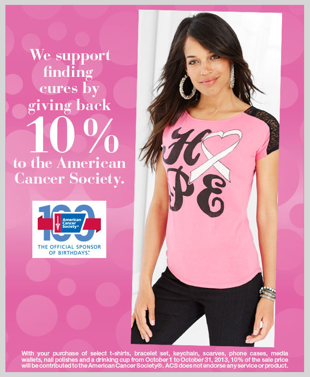 With your purchase of select products, we support finding cures by giving back 10% to the American Cancer Society. SHOP NOW!