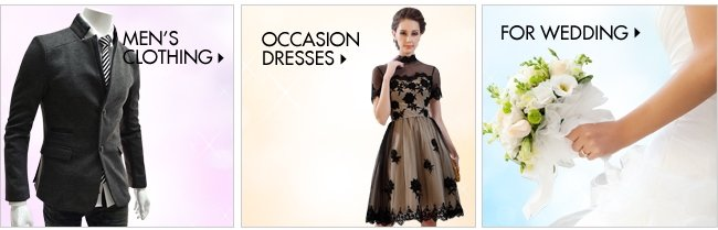 Men's clothing, occasion dresses and wedding event