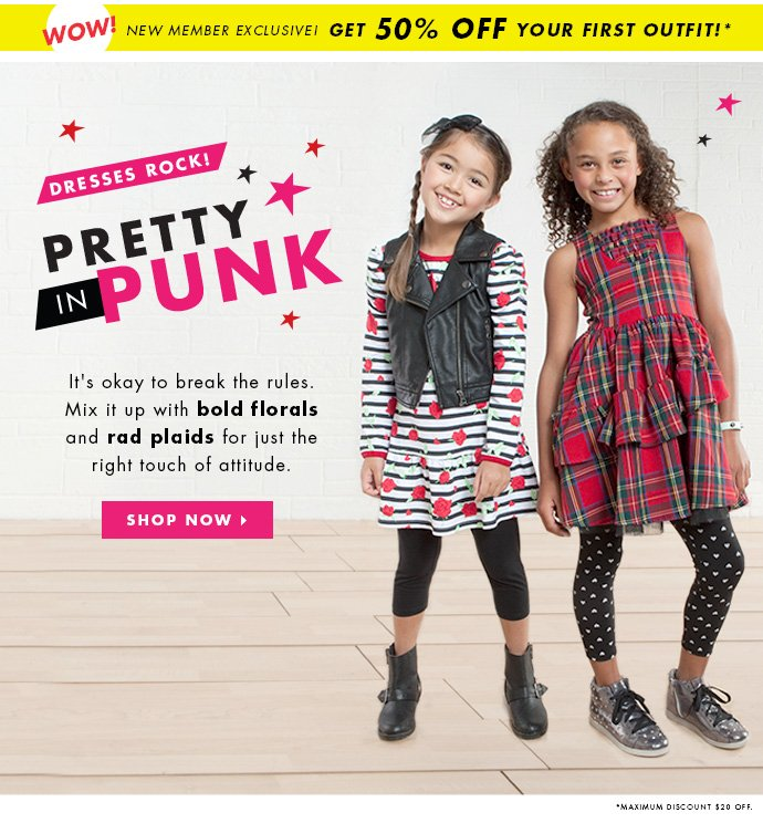 Pretty In Punk Dresses! Get 50% Off Your First Outfit!