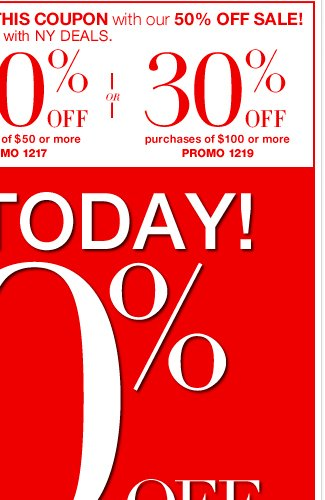 Ends Today - 50% Off Half the Store! SHOP Now