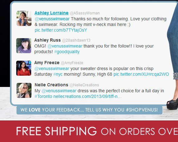 We love your feedback... Tell us why you #SHOPVENUS!