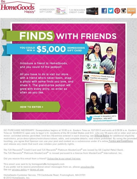 Home Goods A 5000 Gift Card Jackpot Snap Tag Win