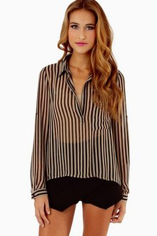 LANDING STRIPES CHIFFON TOP 30