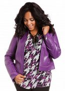 Faux Leather Jacket with Mesh Inserts