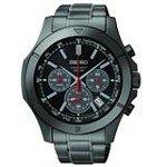 Seiko SSB119 Men's Chronograph Black Dial Black IP Steel Bracelet Quartz Watch