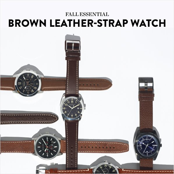 FALL ESSENTIAL - BROWN LEATHER-STRAP WATCH