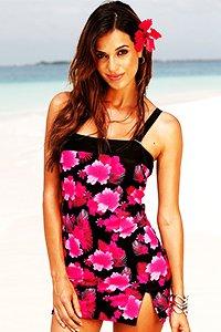 Black Bright Floral Print Swimdress