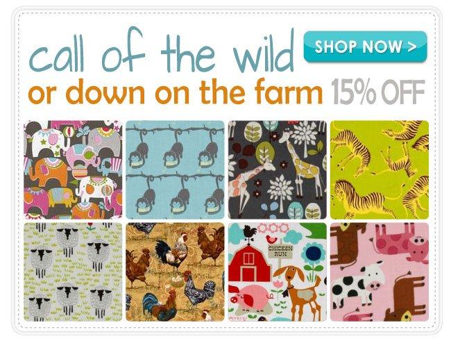 15% off Wild Animals and Farm Animals Cotton Prints