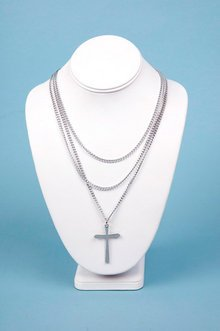 TRIPLE CHAIN CROSS NECKLACE 10