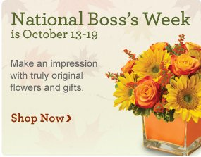 Three Cheers for the Boss National Boss's Week is Oct. 13 - Oct. 19.  Make an impression with a truly original gift. Shop Now