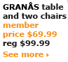 GRANÅS table and two chairs $69.99