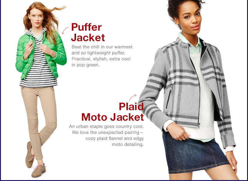 Puffer Jacket | Plaid Moto Jacket
