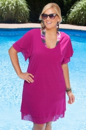 Women's Plus Size Cover Ups - Always For Me Cover Double Ruffle Dress