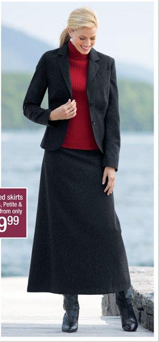 Short Wool Blend Blazer & Long Skirt
