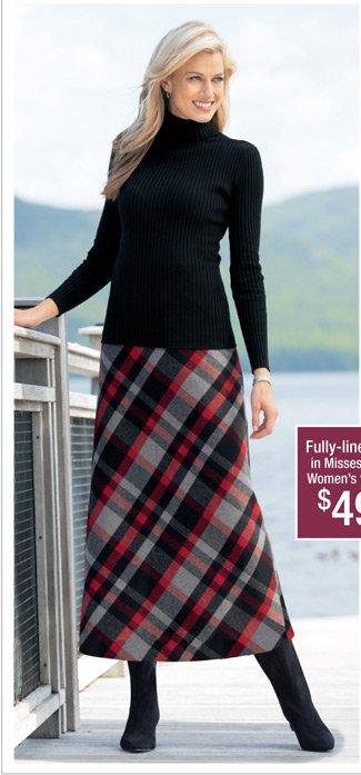 Ribbed Turtleneck & Long Wool Blend Skirt