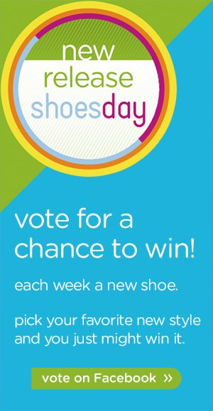 new release shoesday - vote for a chance to win! vote on Facebook