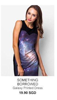 SOMETHING BORROWED Galaxy Printed Dress