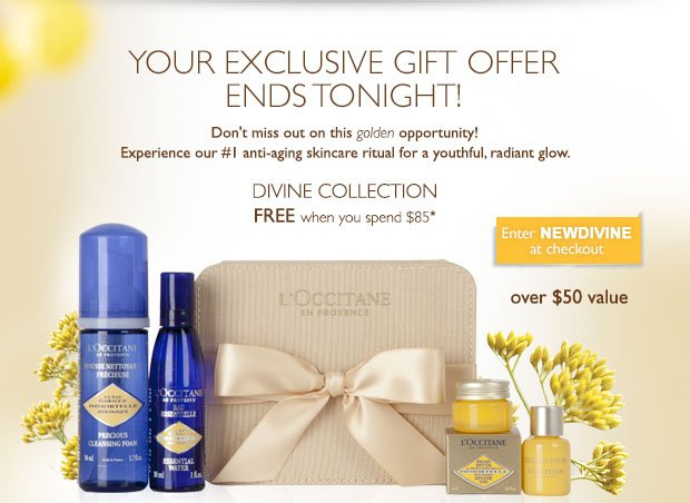 Your Exclusive Gift Offer Ends Tonight use code NewDivine at checkout.