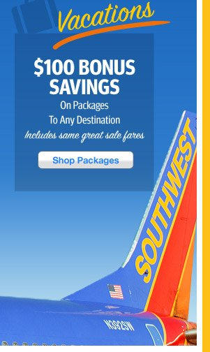 $100 Bonus Savings on Packages to Any Destination