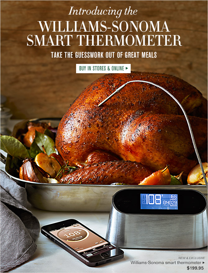 Introducing the WILLIAMS-SONOMA SMART THERMOMETER -- TAKE THE GUESSWORK OUT OF GREAT MEALS -- BUY IN STORES & ONLINE -- NEW & EXCLUSIVE -- Williams-Sonoma smart thermometer, $199.95