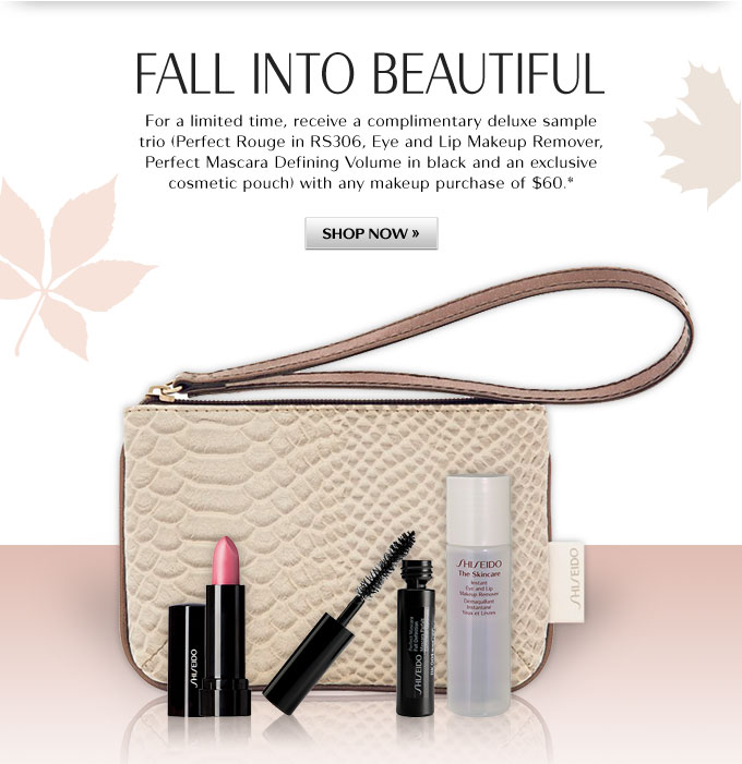 FALL INTO BEAUTIFUL | For a limited time, receive a complimentary deluxe sample trio with any makeup purchase of $60.* | SHOP NOW