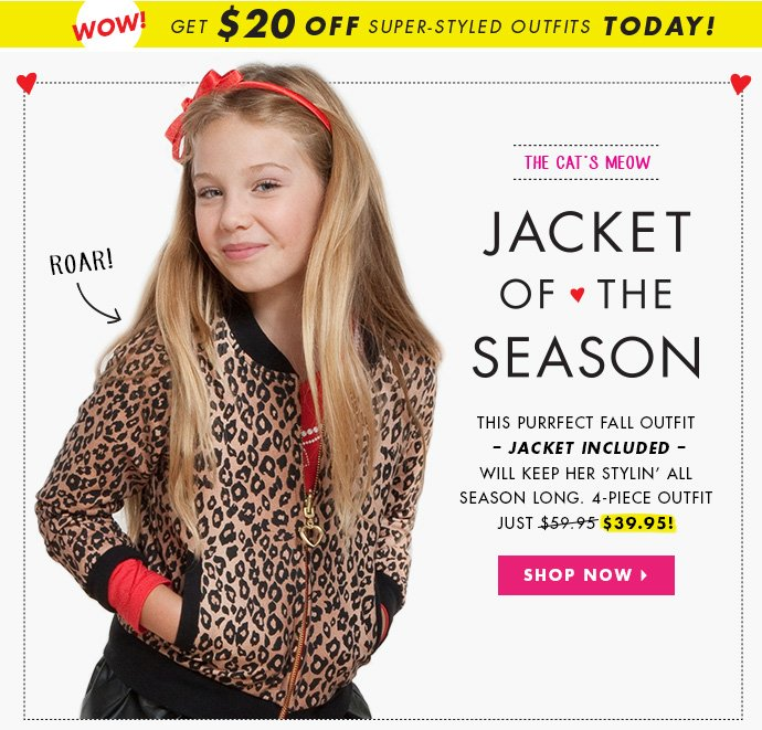 The Jacket Of The Season! Get $20 off today!