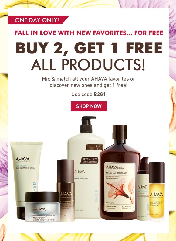 Buy 2, Get 1 Free All Products! Fall is here, and so are the products you need to maintain your beautiful skin, whatever the weather! one day only! Use code B2G1 Shop Now