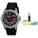 Wenger 77075 Men's Black Dial 100M WR Rubber Strap Watch with 30ml Ultimate Watch Cleaning Kit