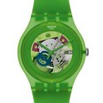 Swatch SUOG103 Unisex New Gent Green Lacquered Skeleton Dial Silicone Strap Watch