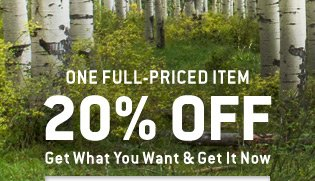 20% Off One Full-Priced Item