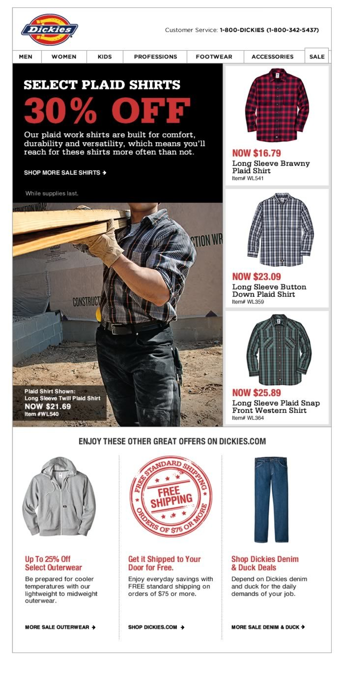30% Off Select Plaid Shirts While Supplies Last