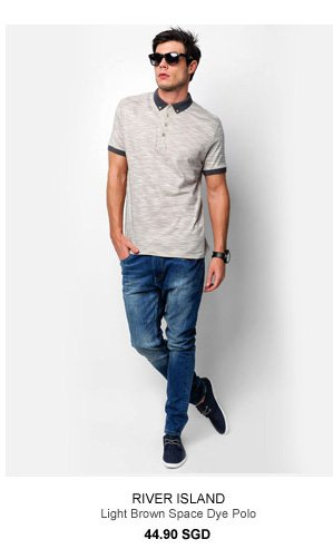 River Island Light Brown Polo Tee