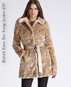 Belted Faux Fur Long Jacket