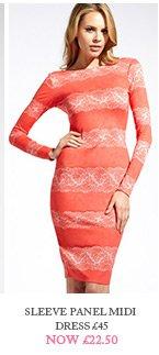 Sleeve Panel Midi Dress