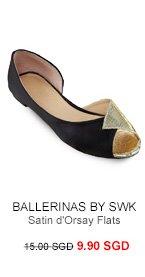 BALLERINAS BY S:W:K Zana Shimmer Satin d'Orsay Flats