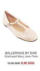 BALLERINAS BY S:W:K Zash Scalloped Mary Jane Flats
