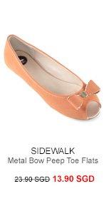 SIDEWALK Sarin Metal Bow Peep Toe Flats