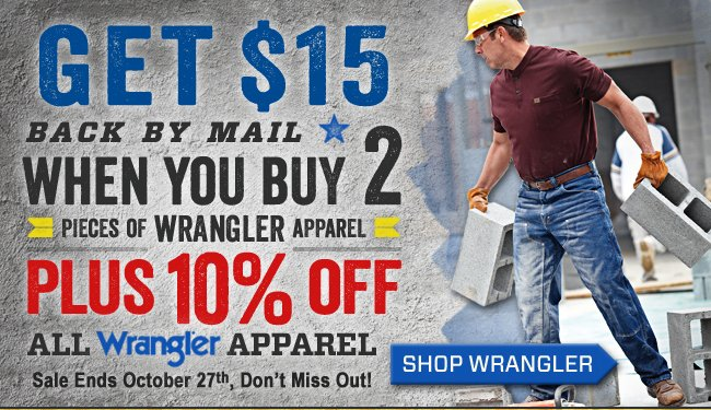 Get 10% OFF + $15 Back + FREE Shipping On Wrangler!