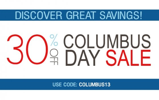 Columbus Day Sale 30% Off