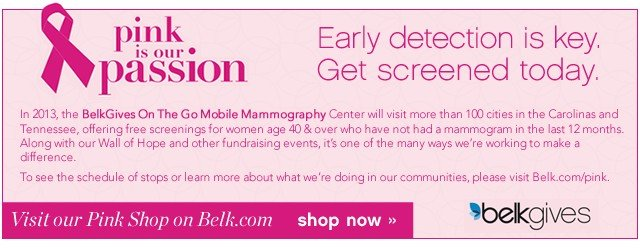 Pink is our Passion. Belk Gives. Visit our Pink Shop on Belk.com. Shop now.