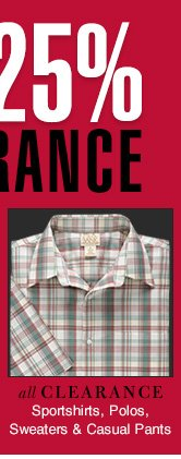 Reduced 25% - Clearance Sportshirts, Polos, Sweaters & Casual Pants