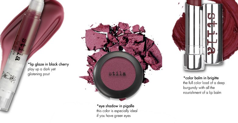 3 products: lip glaze in black cherry, eye shadowin pigalle, and color balm inbrigitte
