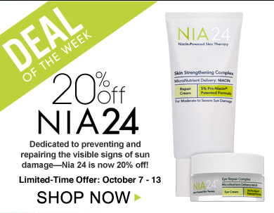 Deal of the Week: Save 20% on NIA24 Dedicated to preventing and repairing the visible signs of sun damage—Nia24 is now 20% off! Limited-Time Offer: October 9 - 15 Shop Now>>