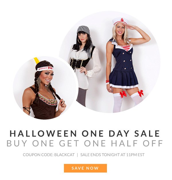 Halloween One Day Sale. Buy One Get One 50% Off with Coupon Code BLACKCAT!