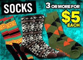 Socks: 3 pairs or more for $5 each